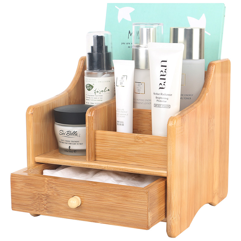 Bureau cosmétiques boîte de rangement en bois tiroir soins de la peau rack de stockage maison en bois coiffeuse WF624426