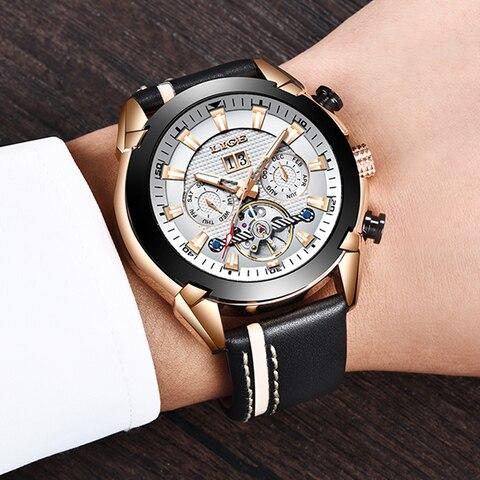 LIGE Men Watch Luxury Brand Tourbillon Automatic Mechanical Watches Waterproof Fashion Leather Business Watch Relogio Masculino Karachi