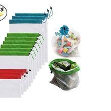 12 шт./лот многоразовые сетчатые сумки для производства моющиеся экологически чистые сумки для хранения продуктов, фруктов, овощей, игрушек, мелочей