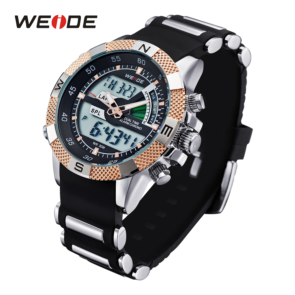 WEIDE Mens Quartz Watches Luxury Sports Army Stopwatch Analog Digital Wristwatch Silicone Strap Band 3ATM Alarm Military Watch weide watches men luxury sports lcd digital alarm military watch nylon strap big dial 3atm analog led display men s quartz watch