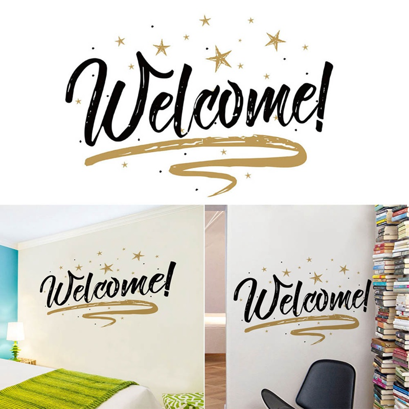 Home Decor Welcome  Wall Stickers DIY Black Letter Poster For LivingRoom Office Welcome Wallpaper Quote Removable Wall Decals