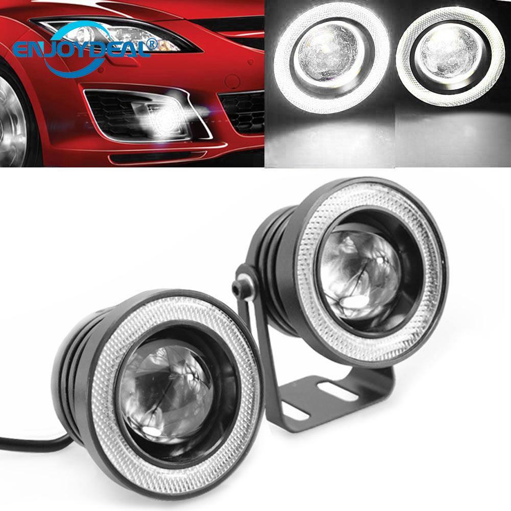 2pcs Waterproof Projector LED Fog Light With Lens Halo Angel Eyes Rings COB 30W White 12V SUV ATV Off Road Fog Lamp Car Styling