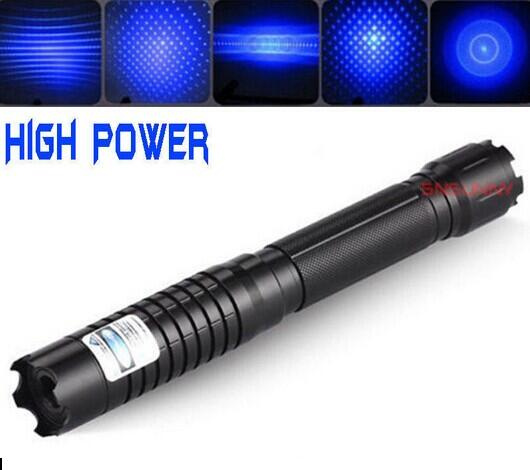 High Power Blue Laser Pointer 450nm Laser Flashlight Burning Match/Paper/Dry Wood/candle/black/cigarettes+Gift box paisen high power 5000mw 5w 450nm blue laser pointer flashlight 16340 rechargeable zoom laser pen black gold