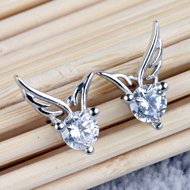 Silver Angel Wing Wings Earrings Lady Fashion High Quality Crystal Jewelry Manufacturers Whole In Stud From Accessories On