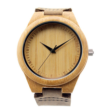 Fashion Stylish Men's Bamboo Wooden Leather Quartz Analog Wrist Watch Gifts