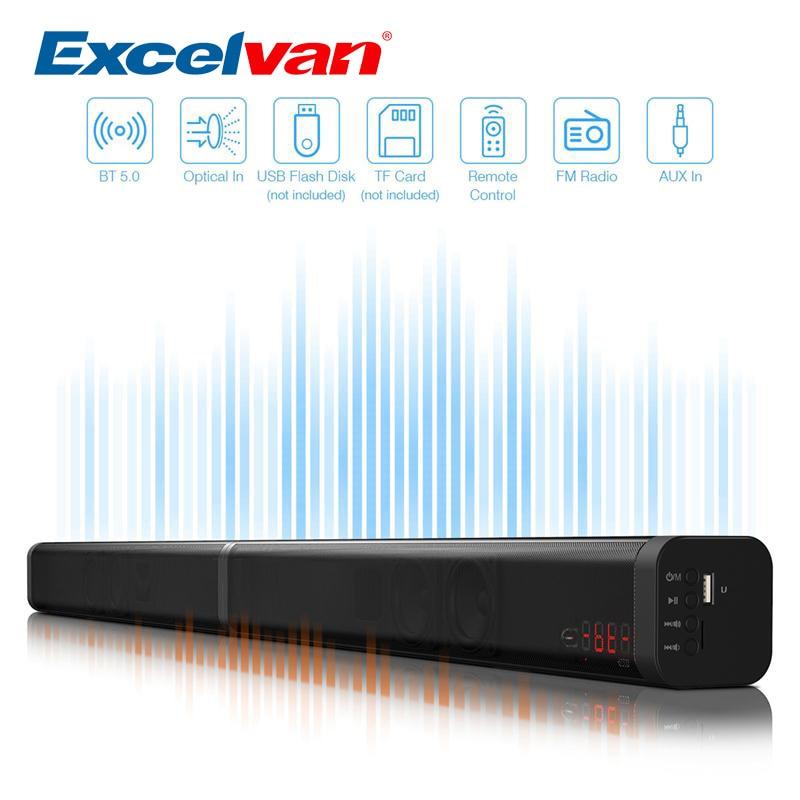 Excelvan 40 W amovible Bluetooth barre de son sans fil Bluetooth haut-parleur construit Subwoofe TV AUX optique barre de son stéréo Home cinéma