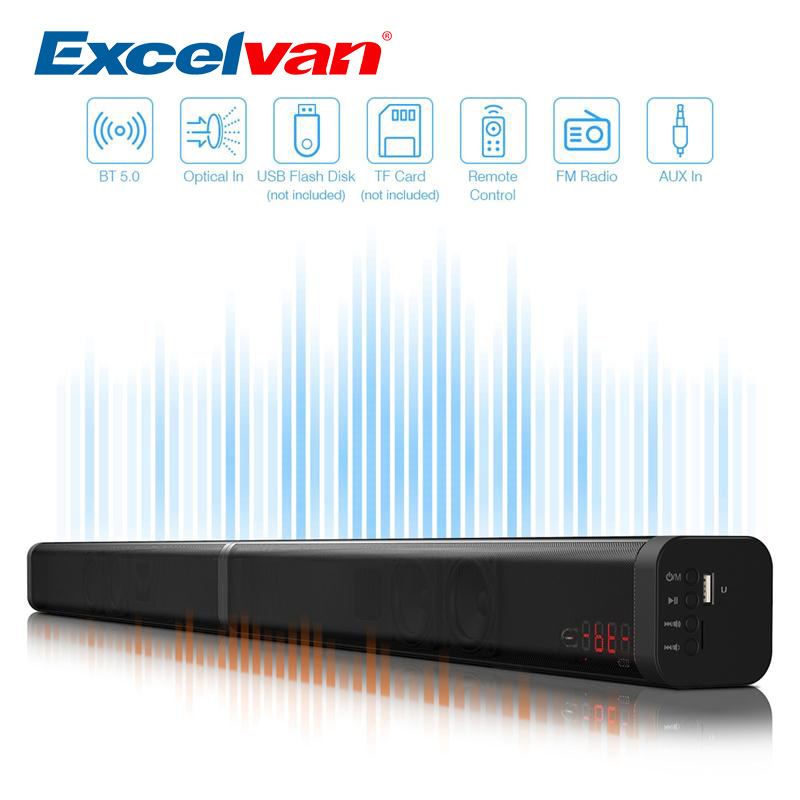Excelvan 40W Detachable Bluetooth Soundbar Wireless Bluetooth Speaker Built Subwoofe TV AUX Optic Soundbar Stereo Home Theater