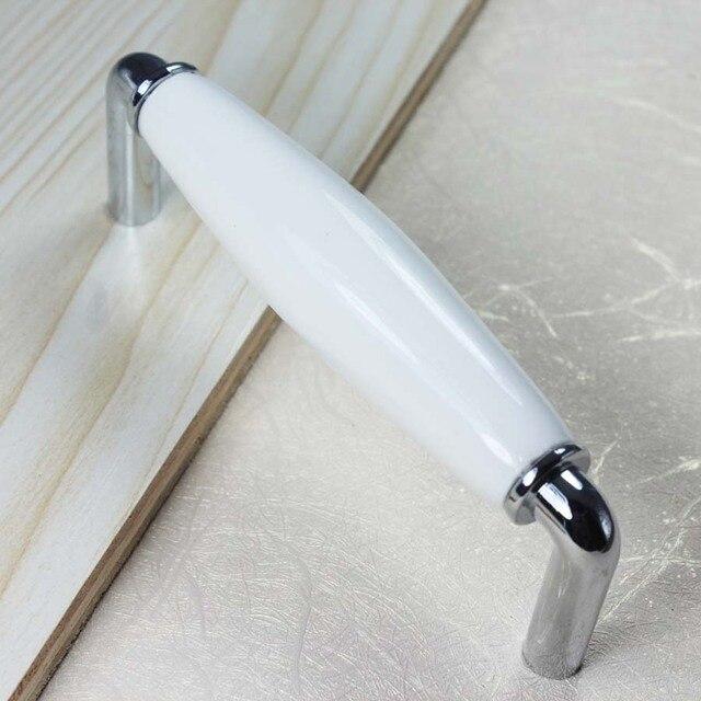 96mm Weiß Silber Dresser Drawer Pulls Griffe Ceramic Küchenschrank ...