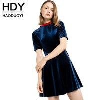 Moda Haoduoyi HDY Velluto Mini Vestito Delle Donne Manica Corta Donna A-line Abito Stile Preppy Vita Alta Signore Vestito Casuale