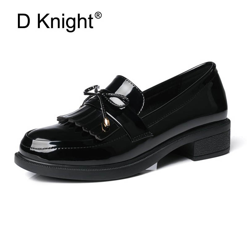 Ladies Casual Flat Loafers Shoes Fashion Patent Leather Round Toe Women Flats Size 33-43 Women's Flats New England Women Oxfords meotina women flat shoes ankle strap flats pointed toe ballet shoes two piece ladies flats beading causal shoes beige size 34 43