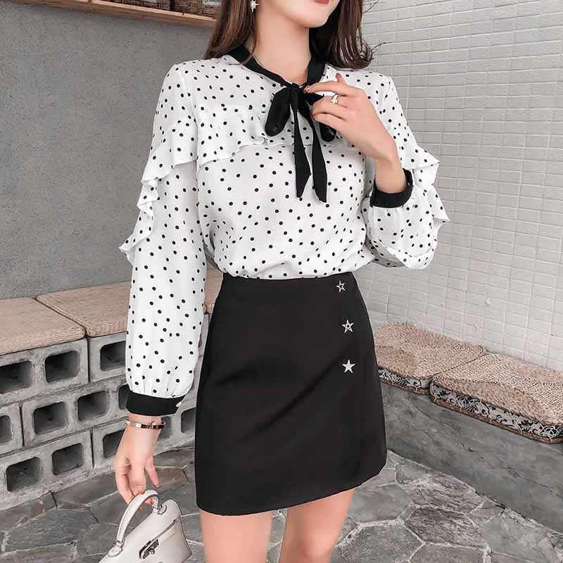 Camisa de temperamento blanca con dibujo de lunares, Linda blusa de chifón con volantes y manga larga para mujer