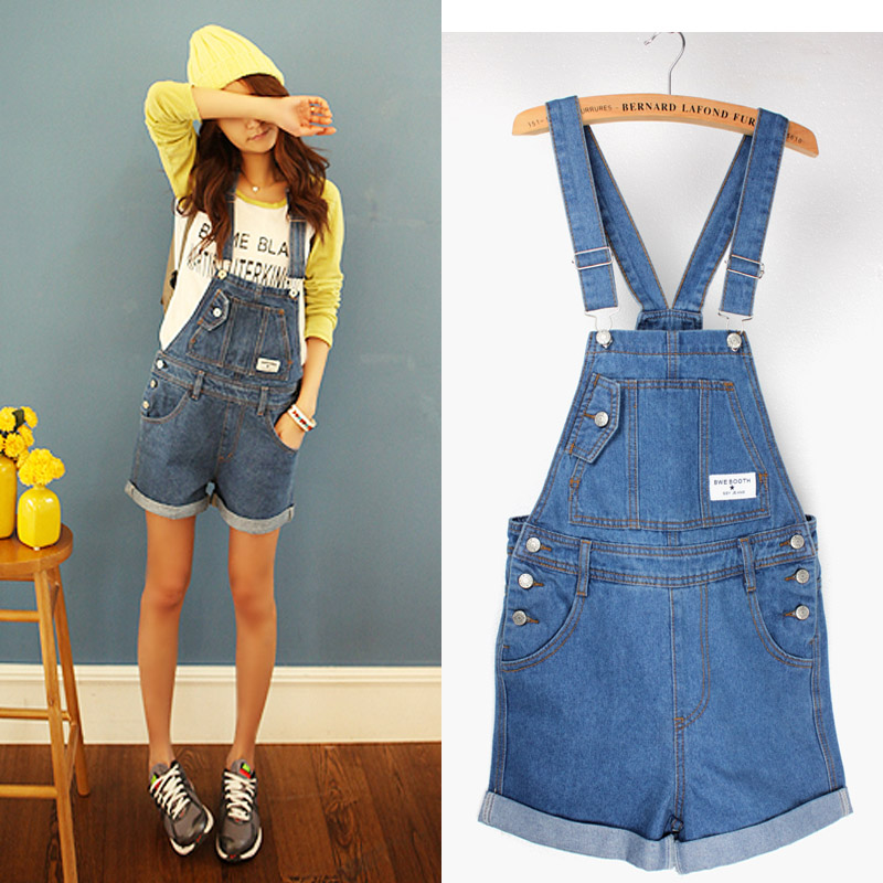 2020 New Summer Girl Washed Jeans Denim Casual Hole Jumpsuit Romper Overall Short Women Clothing Macacao Feminino