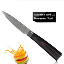 3.5 inch sharp Santoku Knife chef knife Damascus steel tools Japanese vegetable knife advanced color wood handle kitchen knives