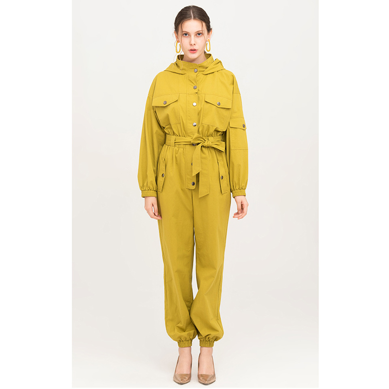 yellow cotton jumpsuit autumn winter hooded long sleeve elastic waist button up ribbed trousers long jumpsuit