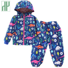 купить Girls winter clothes  Windproof Coat + Pants Sport Suit Children Clothing Boys Suit Winter Kids Clothes Sets 2 3 4 5 6 Years дешево