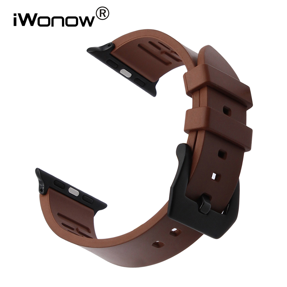 Orange Fluororubber Watchband Rubber Strap for iWatch Apple Watch 38mm 42mm Series 1 & 2 Wrist Band Sports Bracelet Black Brown nylon watchband adapters for iwatch apple watch 38mm 42mm zulu band fabric strap wrist belt bracelet black blue brown green
