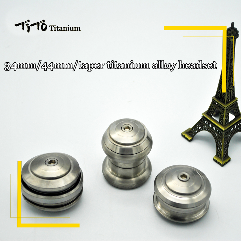 TiTo Titanium Alloy Threadless Headset MTB Road Bike Titanium Bicycle Parts Cycling Headsets 34mm/44mm/41.8-52mm Taper