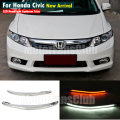 LED Head Light Eyebrows Trim Lamp Bezel Cover Headlight DRL For Honda Civic 2012 2013 2014 With Turn Signal