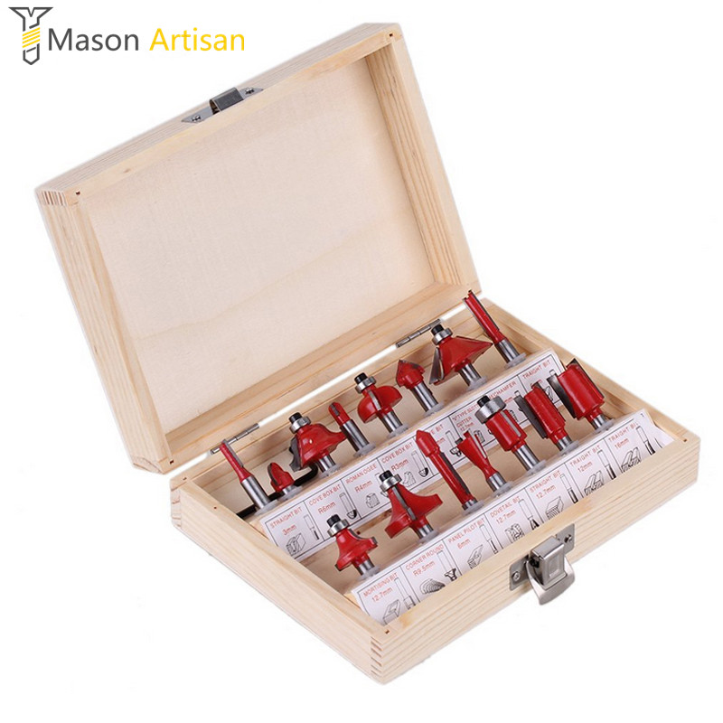 15Pcs 1/4 1/2 Professional Woodworking Carbide Router Bit Set Milling Cutter Wood Carving Engraving Tool Kit Mill Drill Bits 1pc strong mayitr 1 2 shank 2 1 4 dia bottom cleaning router bit high grade carbide woodworking milling cutter mdf wood tool