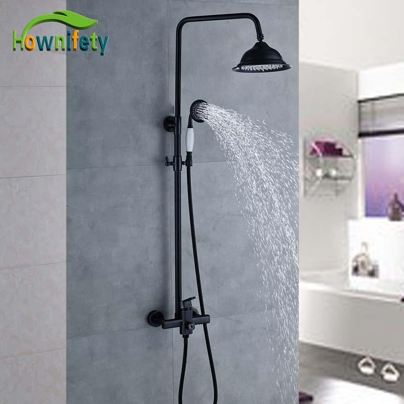 Wall Mounted Black Color Bathroom Shower Full Set 8Brass Shower Head Ceramic Handshower Shower Faucet
