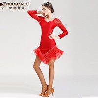Lady Fashion Latin Dancing Dress Girls Graceful Dancers Tassel Costumes Female Long Sleeves Rumba Samba Dancing Suit D 0132