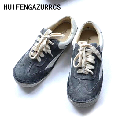 HUIFENGAZURRCS-2018 new Spring and autumn Retro Genuine Leather female shoes,Handmade art leisure soft flat students shoes huifengazurrcs new genuine leather