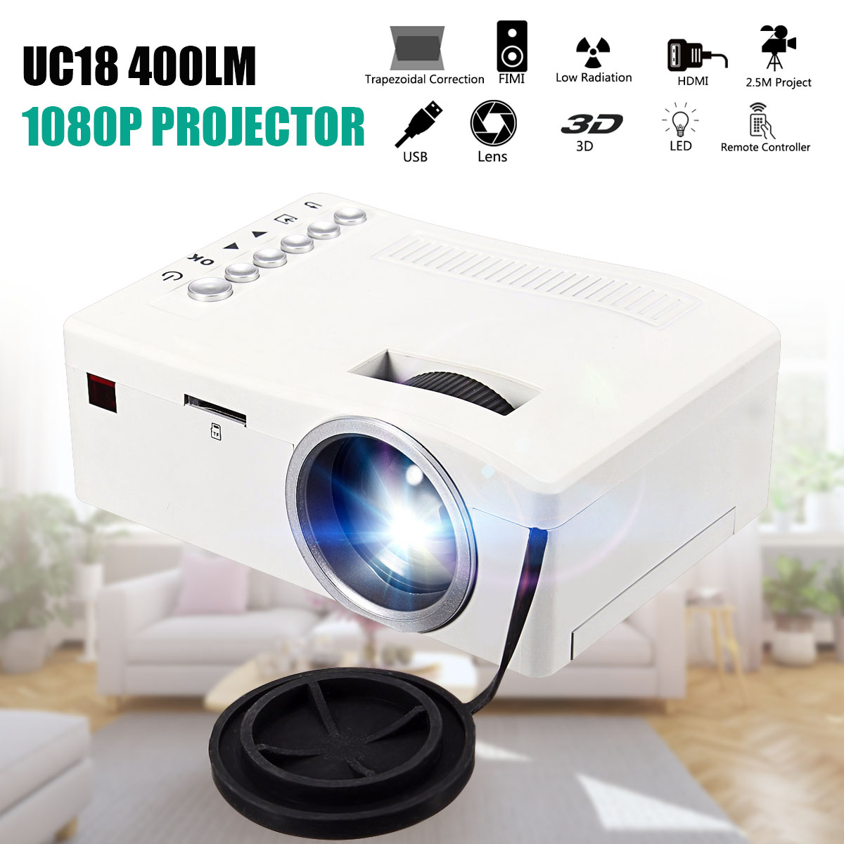 Full HD 1080P 320 x 180 Resolution Projector LED Mini Portable 400 Lumen Home Theater Cinema PC VGA USB SD AV Input HDMI gm50 1080p hd home theater led projector w sd hdmi vga av usb white black eu plug
