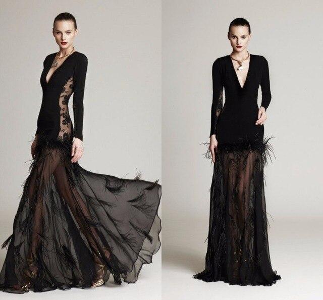 fa16c8b0cad Black Feathers Evening Dress Deep V Neck Long Sleeve A Line Floor Length  Long Evening Dress Lace Sheer Chiffon Evening Gowns