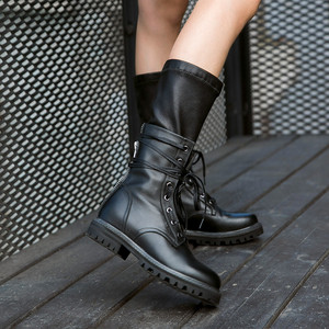 Image 5 - MORAZORA 2020 new fashion winter Military boots women genuine leather lace up zip punk platform shoes woman mid calf boots