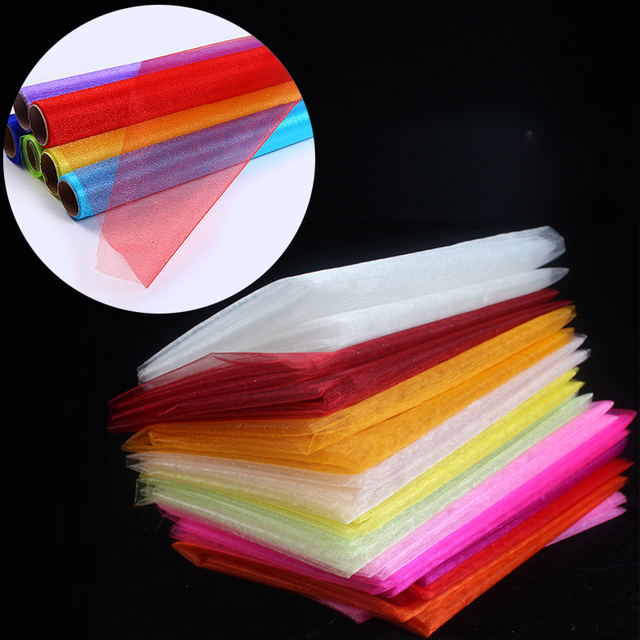 (50m/lot)75cm Wide Wedding Sheer Organza Tulle Fabric Roll Mariage DIY Craft Birthday Kid Festival Decoration Table Runner Swags