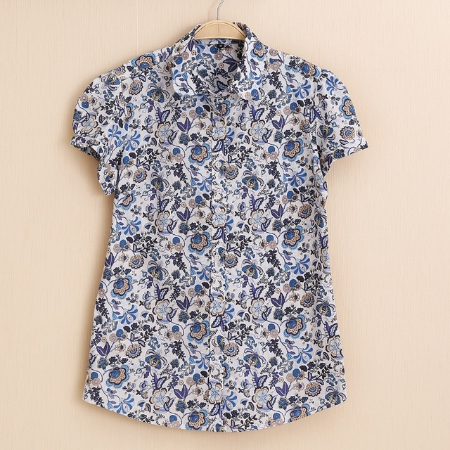 Summer Short Sleeve Floral Blouses – Plus Sizes