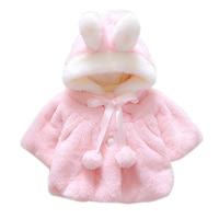12 M ~ 5 T בגדי תינוקת חורף אוזני ארנב קטיפה אלמוגים לבנים ורוד מעיל Hoodied חמוד כדור פאזי הילדים של ילדי בגדי V20