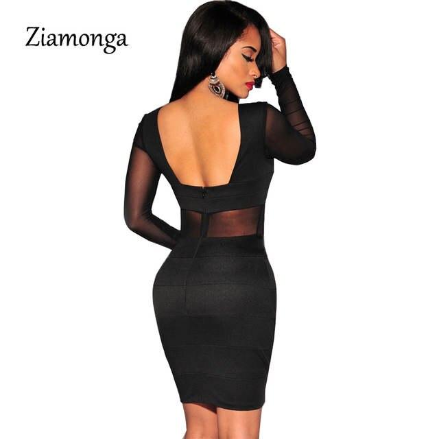 ef173457b6f placeholder XS-XXL Sexy Bandage Dress New Winter Black White Dress Long  Sleeve Mesh Patchwork Hollow