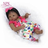 NPK 22 reborn Baby Doll black Girl Dolls full body Soft Silicone Babies Girls Lifelike real born dolls bebe real reborn bonecas