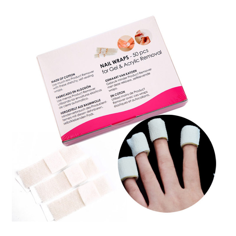 50 Pcs Nail Polish Remover Wraps Bandage Non woven Fabric Wipes ...