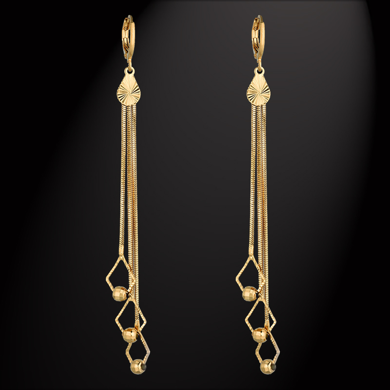 Vintage Long Tear Chandelie Drop Earrings For Women Girl Ethnic Jewelry Wholesale,Brand New Trendy Gold Color Luxury Jewelry