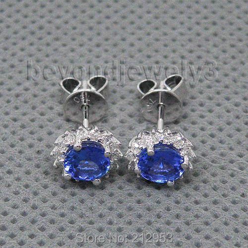 Fine Tanzanite Jewelry Round 5mm 18kt White Gold Natural Tanzanite Stud Earrings For Women,585 Gold AAA Tanzanite For Sale WE042 starry pattern gold plated alloy rhinestone stud earrings for women pink pair