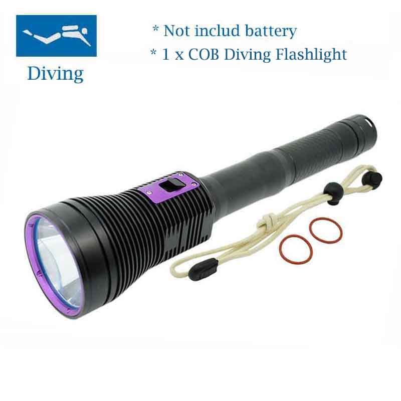 Waterproof Flashlight Aluminum Alloy 20000 Lumens COB Soft light COB Diving Flashlight By 3*18650 Battery Underwater Torch Lamp
