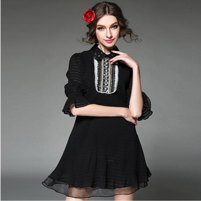 2016 Fashion High Waist Autumn & Winter Dress Mexican Embroidered ...