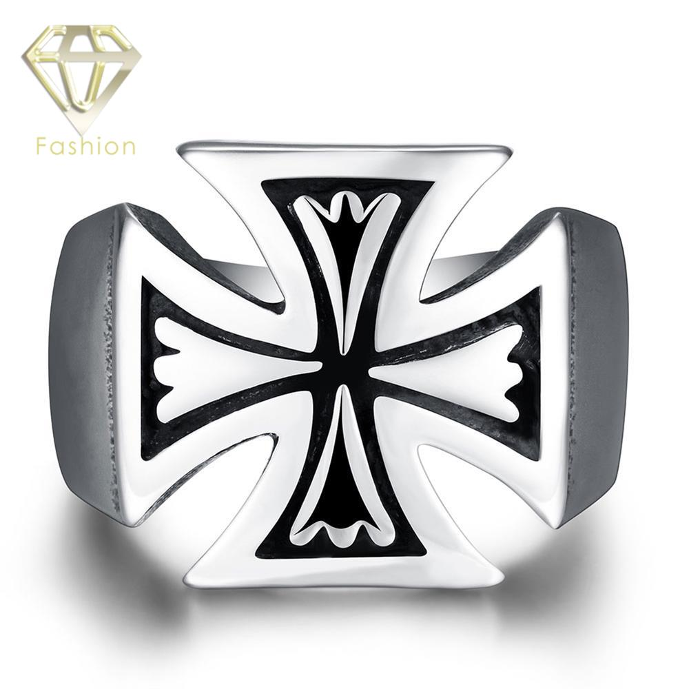 Christian Rings Classic Silver Plated Cross Finger Rings Trendy 316L Stainless Steel Jewelry for Men Party Gifts Wholesale