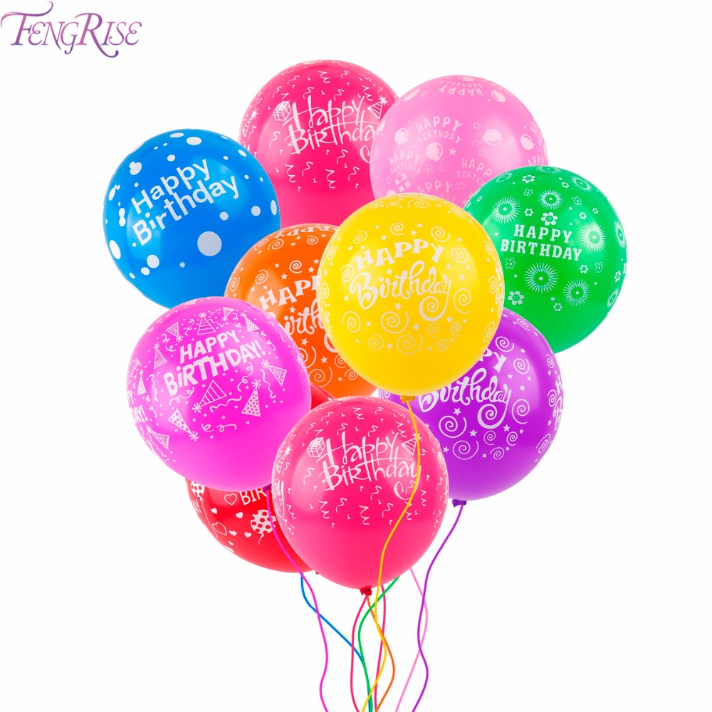 FENGRISE 10pcs 12inch Multicolor Latex Balloons Happy Birthday Balloon Inflatable Ball Birthday Party Decorations Party Supplies