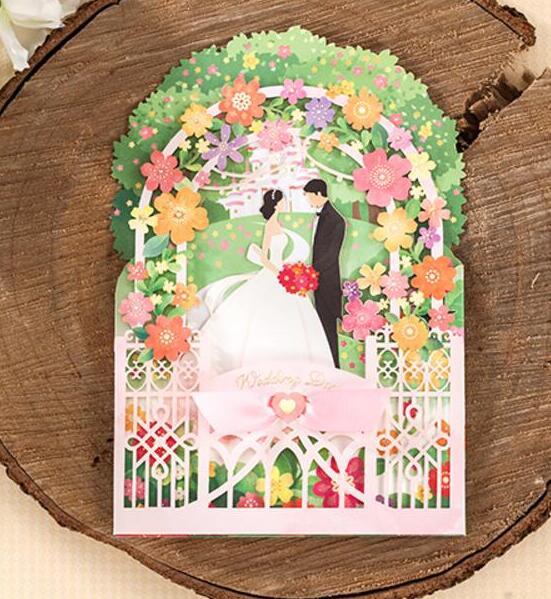 3d Einladungskarten Hochzeit #15: 3D Laser Cut Flower Palast Hochzeitseinladungskarten, Hochzeit Engagement  Einladungen Karte Party Kits, 100 STÜCKE