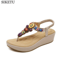 SIKETU Platform Sandals National Style Women Sandals Bohemia Flats Beaded Size Foreign Trade Shoes Summer Shoes