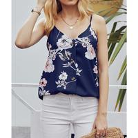 INMOTENG Women's Floral Printed Casual V Neck Button Down Strappy Cami Tank Tops Summer Sleeveless Vest Tops White Blue Orange