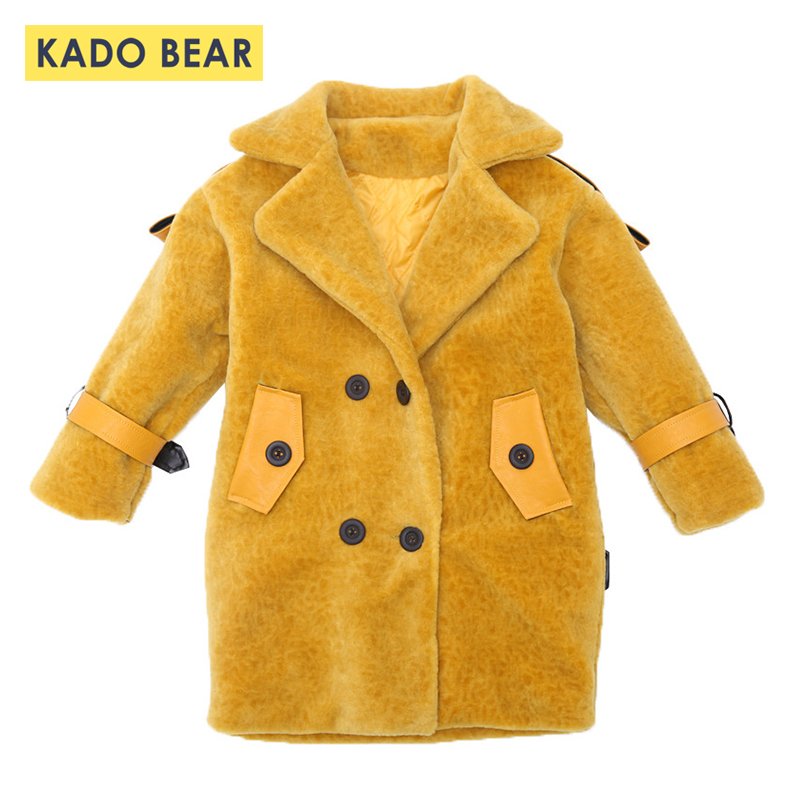 Baby Girls Fur Winter Wool Coat Kids Thick Warm Outerwear 2018 Fashion Jackets Long Sleeve Children Clothes Toddler Girl Coats 2018 winter girls wool coats kids warm fashion lapel long sleeve collar girls clothes woolen coat fit 4 10t