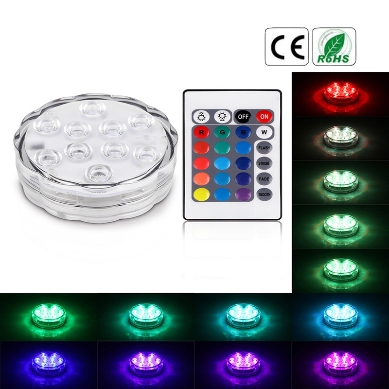Remote Control Color RGB 10 LED Underwater Light Aquarium Vase Party LED Decorative Lights Lighting Dining  Bar