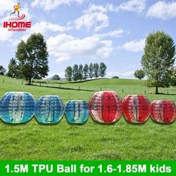 20 unids/lote 1,5 m TPU bola inflable del cuerpo del zorro, Bola del parachoques, pelota de Loopy, fútbol de burbujas, fútbol de burbujas, traje de bola de burbuja
