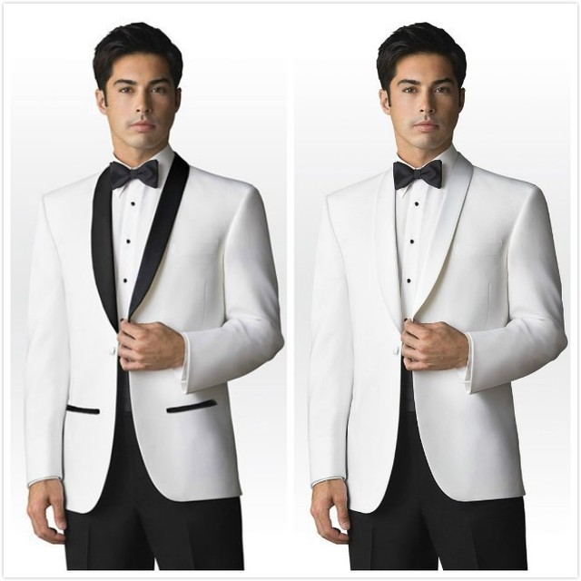 Trajes De Hombres De Vestir White Mens Suit Black Lapel Custom Made(Coat+Pants+Bow) Design Wedding Suits For Marriage  RXF20