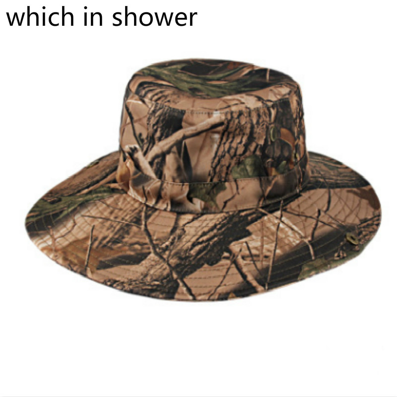 dfacac8993c Which in shower Round Wide Brim Camo Summer Fishing Hat UV Protection  Hiking Camouflage Bucket Hat Panama Sun Cap For Women Men