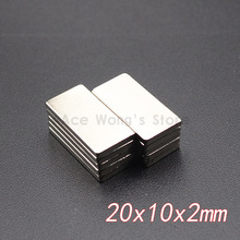 10 шт. 20 мм x 10 мм x 2 мм N35 Супер Сильные неодимовые магниты блок кубовидный редкоземельный магнит 20x10x2 мм Лидер продаж